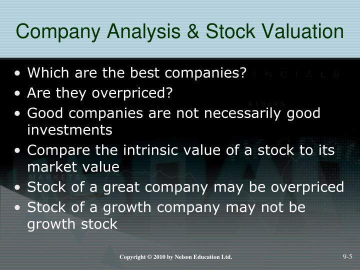 Company Analysis & Stock Valuation
