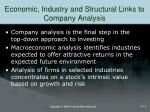 economic industry and structural links to company analysis