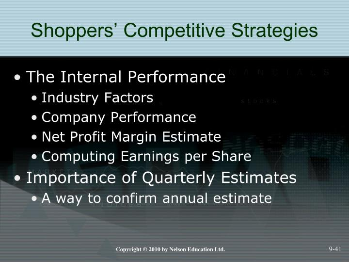 Shoppers' Competitive Strategies