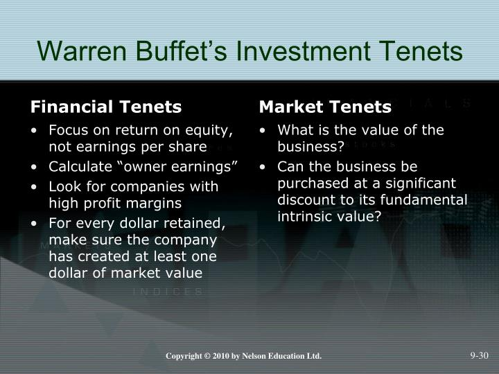Warren Buffet's Investment Tenets