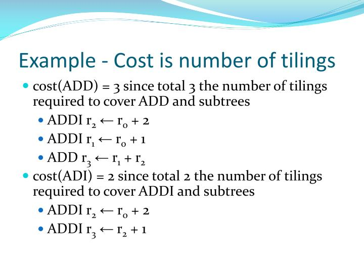 Example - Cost is number of