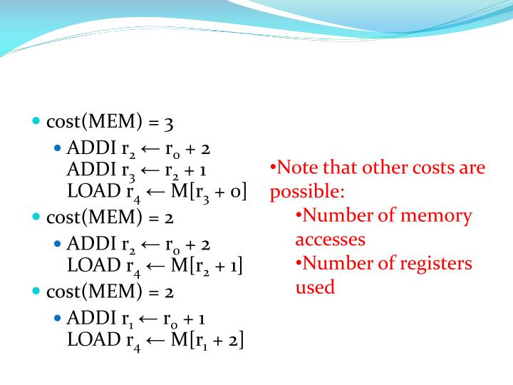 cost(MEM) = 3
