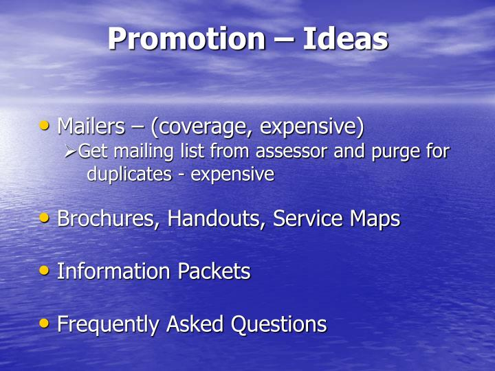 Promotion – Ideas