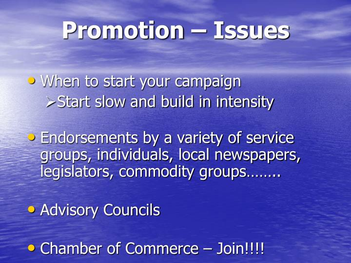 Promotion – Issues