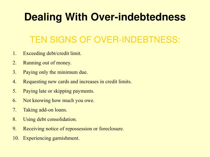 Dealing With Over-indebtedness