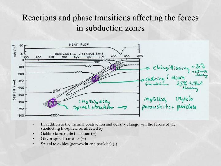 Reactions and phase transitions affecting the forces in subduction zones