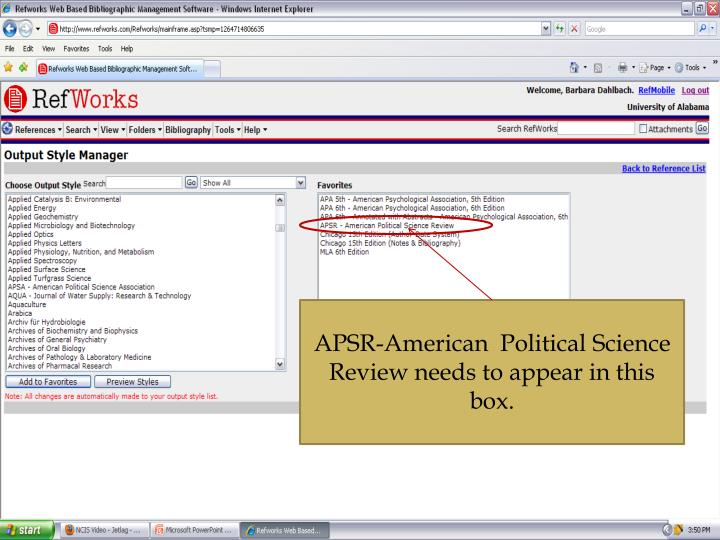 APSR-American  Political Science Review needs to appear in this box.