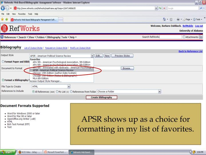APSR shows up as a choice for formatting in my list of favorites.