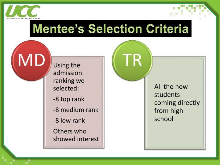 Mentee's Selection Criteria
