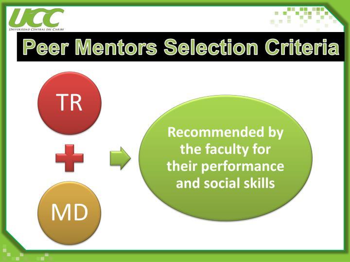 Peer Mentors Selection Criteria