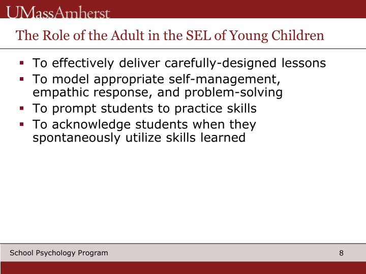 The Role of the Adult in the SEL of Young Children