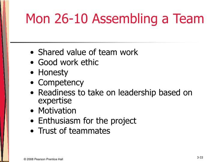Mon 26-10 Assembling a Team