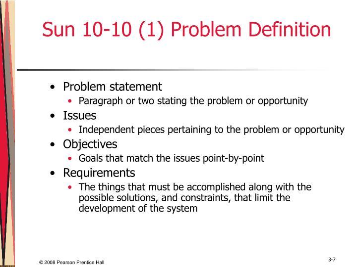 Sun 10-10 (1) Problem Definition