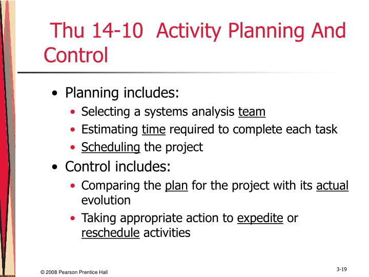 Thu 14-10  Activity Planning And Control