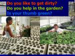 do you like to get dirty do you help in the garden is your thumb green