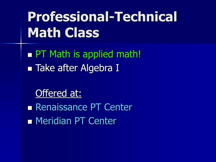 Professional-Technical Math Class