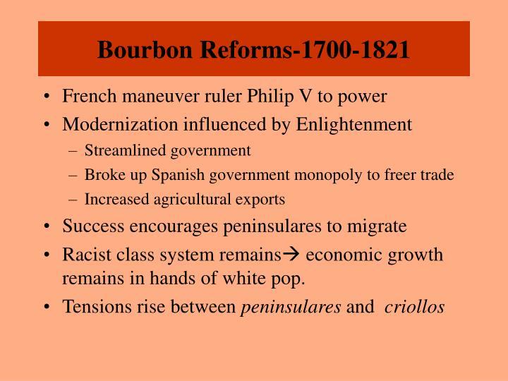 Bourbon Reforms-1700-1821