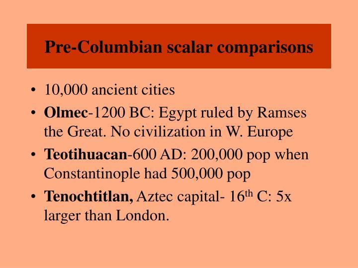 Pre-Columbian scalar comparisons