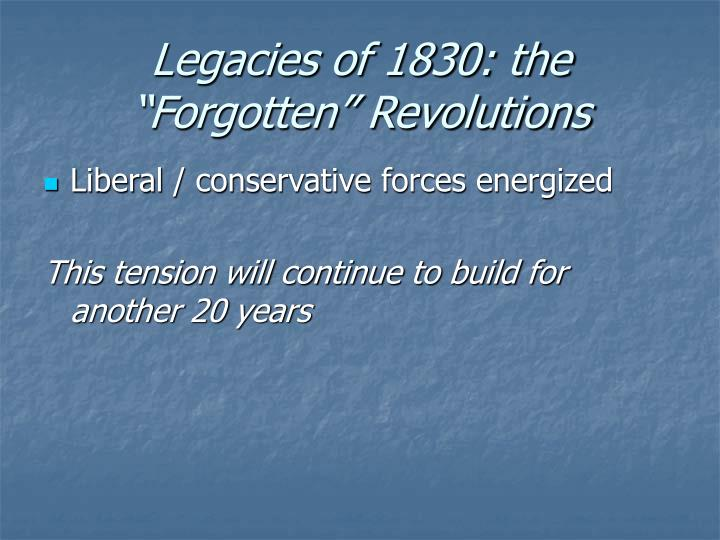 "Legacies of 1830: the ""Forgotten"" Revolutions"