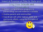 intent purpose of title iv safe and drug free schools and communities