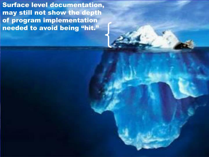 """Surface level documentation, may still not show the depth of program implementation needed to avoid being """"hit."""""""