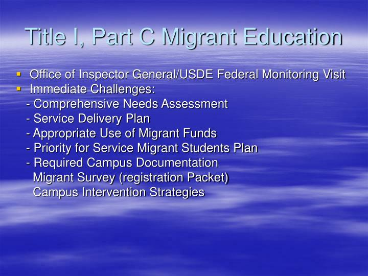 Title I, Part C Migrant Education