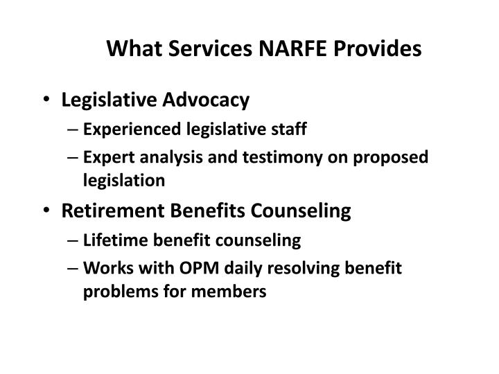 What Services NARFE Provides
