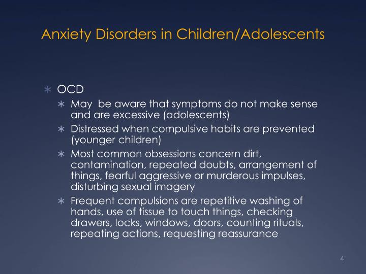 Anxiety Disorders in Children/Adolescents