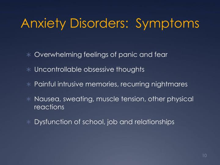 Anxiety Disorders:  Symptoms