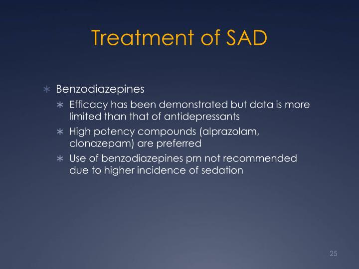 Treatment of SAD