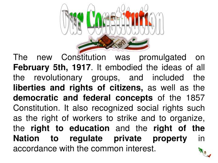 The new Constitution was promulgated on