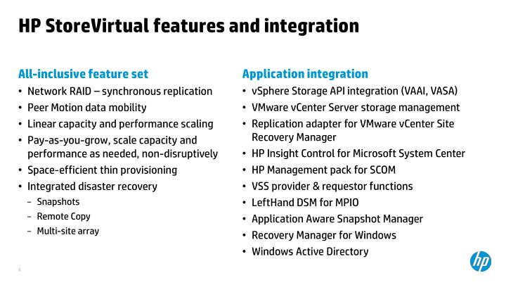 HP StoreVirtual features and integration