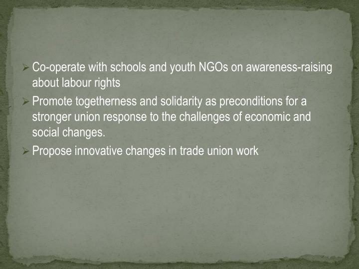 Co-operate with schools and youth NGOs on awareness-raising about labour rights