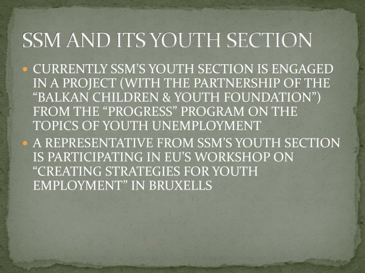 SSM AND ITS YOUTH SECTION