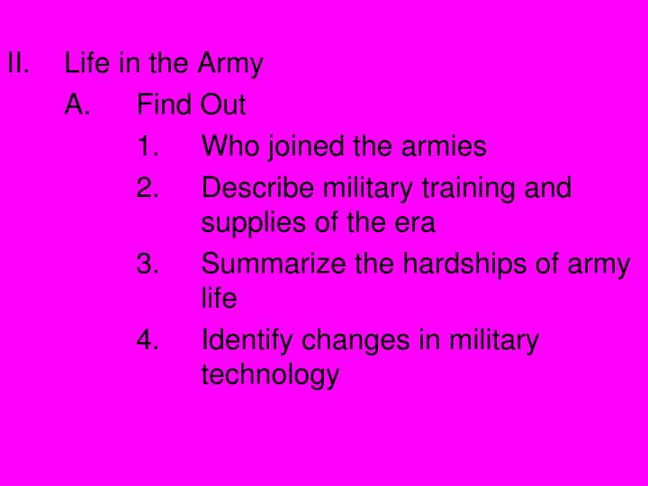 Life in the Army