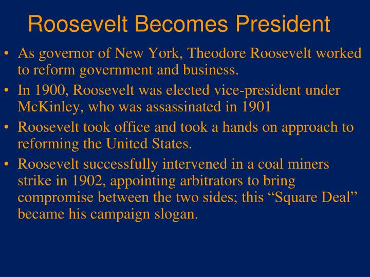 Roosevelt Becomes President