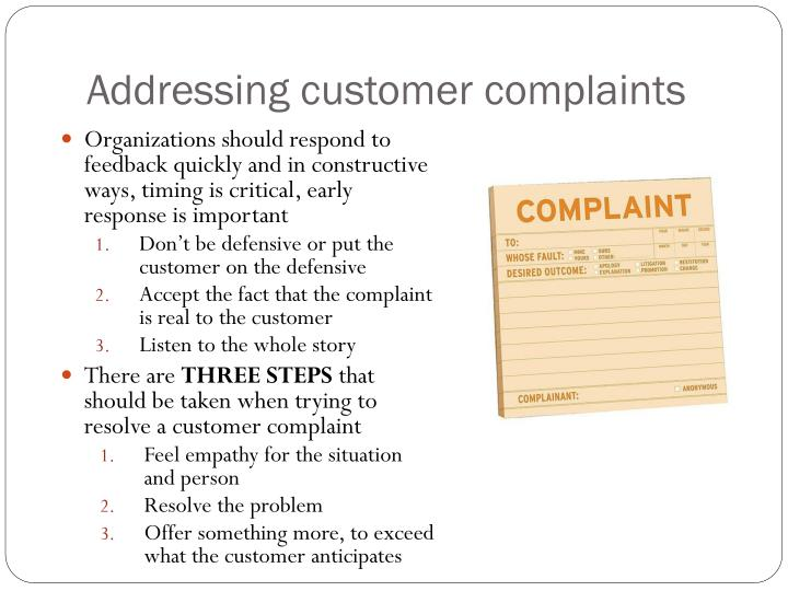 Addressing customer complaints