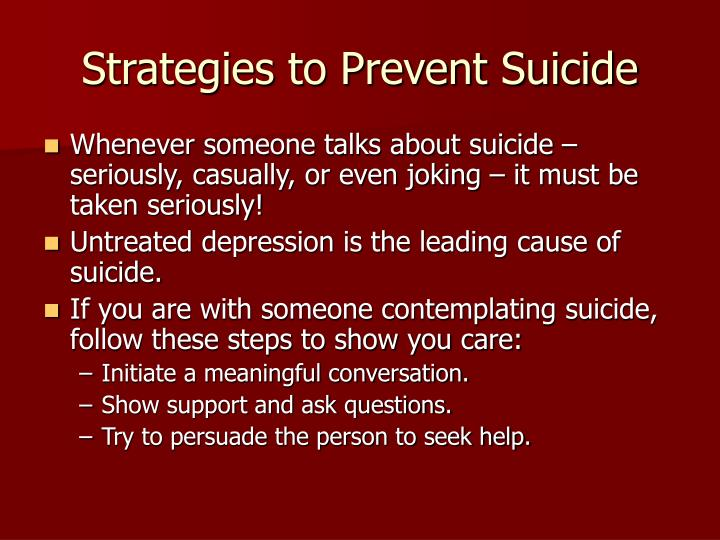 Strategies to Prevent Suicide