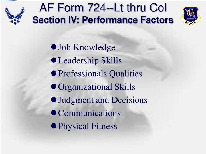 AF Form 724--Lt thru Col