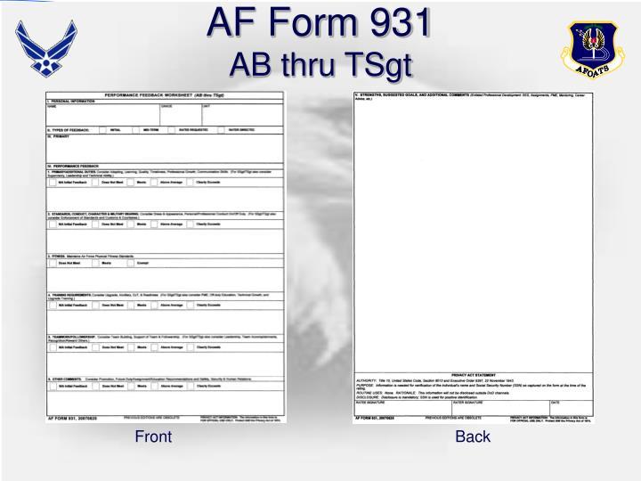 AF Form 931