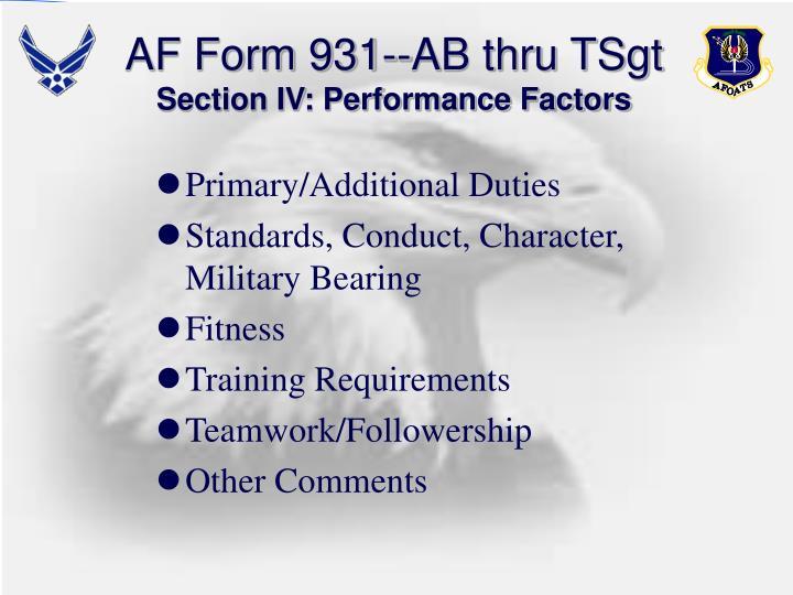 AF Form 931--AB thru TSgt