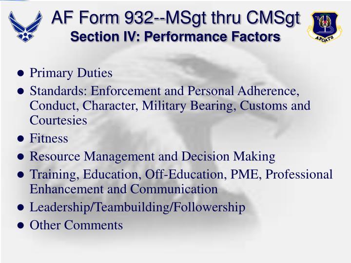 AF Form 932--MSgt thru CMSgt
