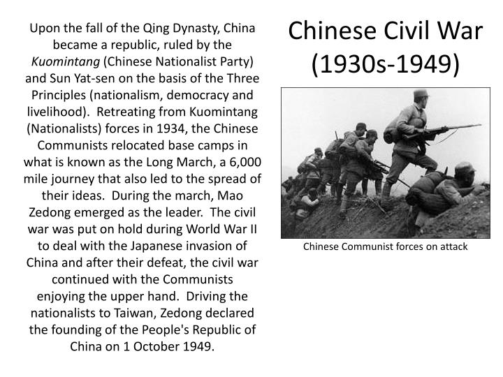 an introduction to the causes of chinese civil war The ccp's defeat in 1933 caused the organization to seek a new leader,  chinese civil war: on august 1, 1927, the chinese civil war begins  chinese civil war resumes: on june 26, 1946, the .