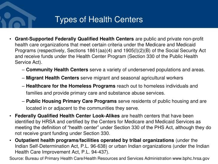 Types of health centers