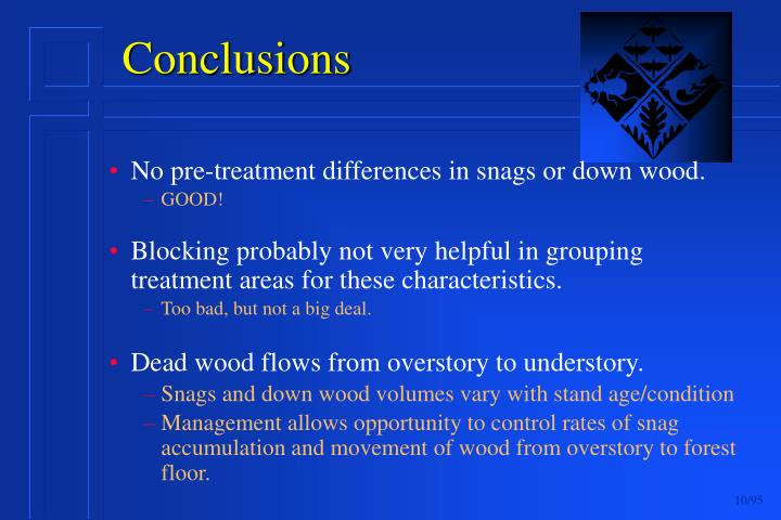 No pre-treatment differences in snags or down wood.