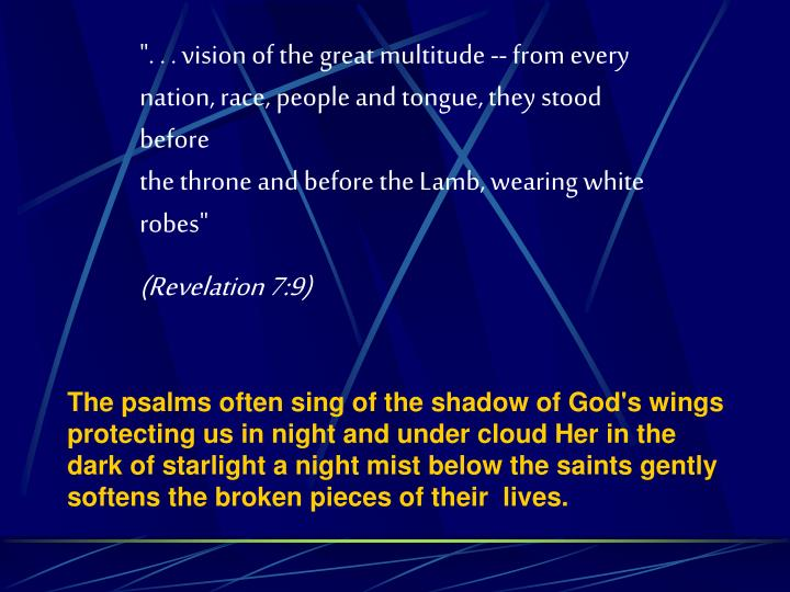 """. . . vision of the great multitude -- from every nation, race, people and tongue, they stood before"