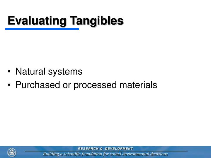 Evaluating tangibles