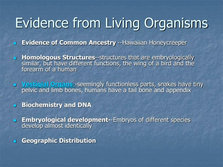 Evidence from Living Organisms