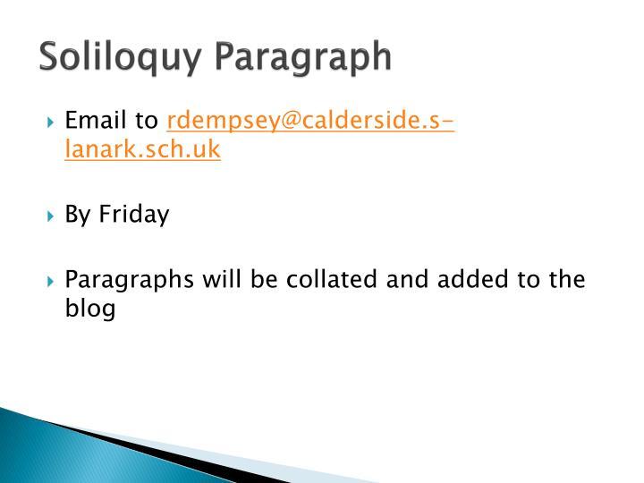 Soliloquy Paragraph