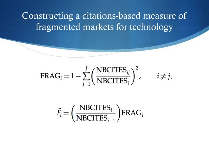 Constructing a citations-based measure of fragmented markets for technology